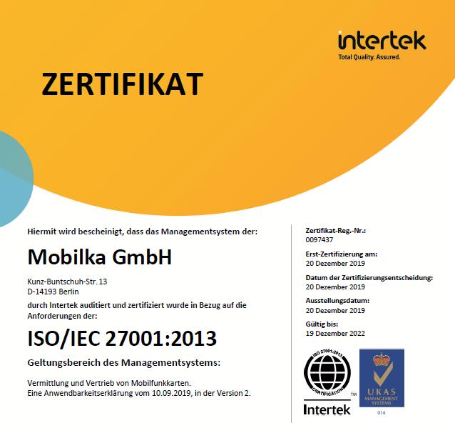 MOBILKA Zertifikat